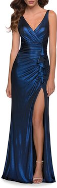 Metallic Jersey Ruched Gown with Ruffle Trim