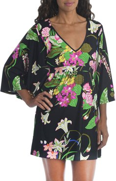 Moonlit Floral-Print Coverup Tunic