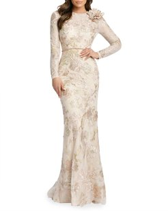 Long-Sleeve Sequined Lace Gown w/ Flower
