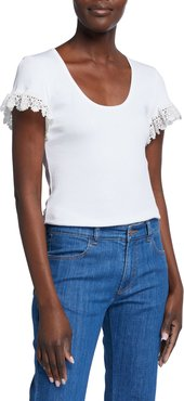 Scoop-Neck Short-Sleeve Top with Lace