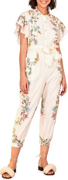 Louise Floral Frilled-Sleeve Jumpsuit