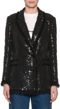 Sequin Double-Breasted Blazer w/ Fringe
