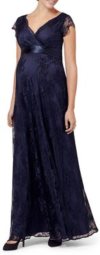 Maternity Eden Long Floral-Lace Gown with Satin Sash