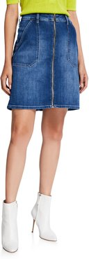Malia Zip-Front Denim Skirt
