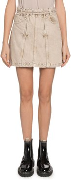 Belted Denim Short Skirt with Zippers