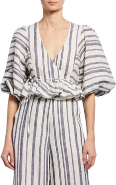 Bautista Striped Puff-Sleeve Cropped Linen Wrap Top