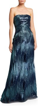 Sequin Ombre Bustier Gown