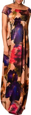 Maternity Aria Watercolor Cap-Sleeve Gown
