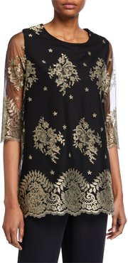 Petite Luxury Lace 3/4-Sleeve Tunic