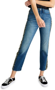 Classic Straight Cropped Jeans with Leopard Taping