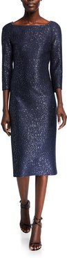 Glimmering Sequined Knit 3/4-Sleeve Dress