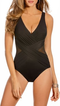 Plus Size Illusionist Crossover One-Piece Swimsuit