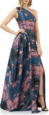 Noelle Abstract Jacquard One-Shoulder Gown w/ Side Drape