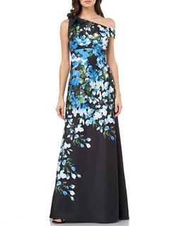 Floral Mikado One-Shoulder Column Gown with Tie Shoulder