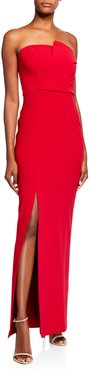Mariko Strapless Stretch Crepe Column Gown w/ Leg Slit