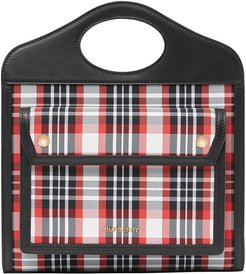 Mini Tartan Nylon and Leather Pocket Bag