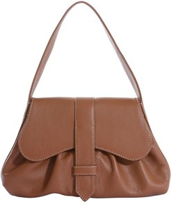 Mercedes Pleated Leather Top-Handle Bag