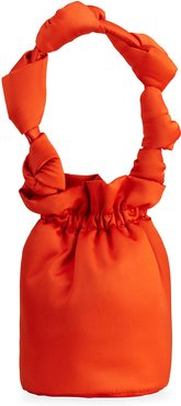 Knotted Satin Top-Handle Bag