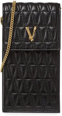Quilted Lamb Leather Crossbody Bag