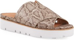 Lavern X-Band Snake-Print Slide Sandals