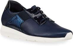 Corie Mixed Leather Comfort Sneakers, Navy