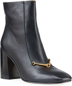 Equestrian Link Leather Zip Ankle Boots