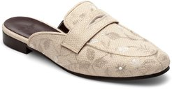 Floral Embroidered Tweed Slipper Mules