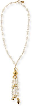 White Freshwater Peanut Pearl and Gold Accent Necklace