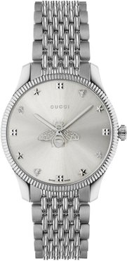 36mm G-Timeless Bee Watch with Bracelet Strap, Silver