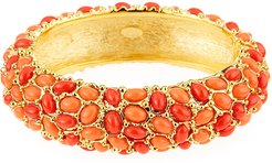 Hinged Cabochon Crystal Bracelet, Coral