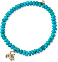 Luck and Protection Turquoise Bracelet with Diamonds