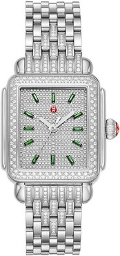 Deco Stainless Emerald and Diamond Watch