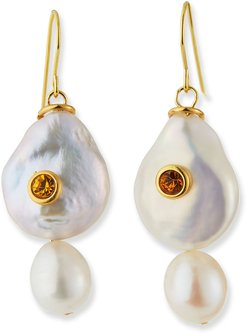 Pearl and Stone Drop Earrings