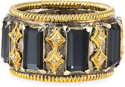 Old World Wide Band Doublet Baguette Ring, Size 7