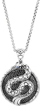 Legends Naga Silver Round Pendant Necklace with Black Sapphires
