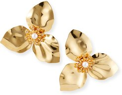 Trillium Flower Earrings with Pearls, Gold