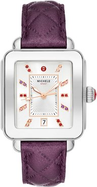 Deco Sport Stainless Steel Leather Watch, Violet