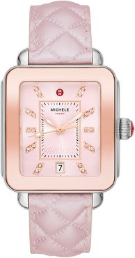 Deco Sport Two-Tone Leather Watch, Lilac