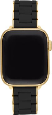 38/40mm Silicone-Wrapped Bracelet Band for Apple Watch, Black/Gold