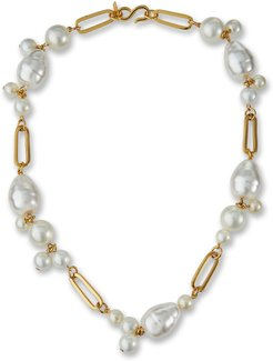 Simulated-Pearl Cluster Necklace