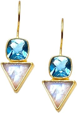 Blue Topaz and Moonstone Wire Earrings
