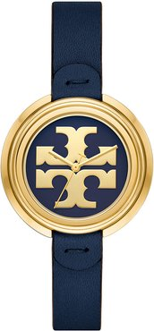 Miller Watch with Leather Strap, Navy/Gold
