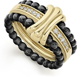 Color Switch 18k Gold and Diamond Fluted Center Ceramic Ring Set