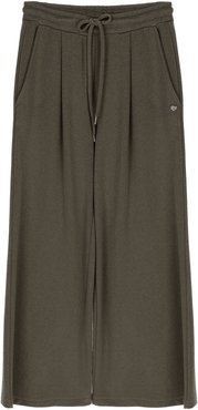 Pantaloni cropped in felpa con coulisse