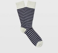 Navy/Green Double Striped Sock in Size One Size