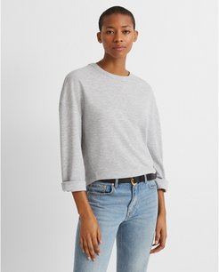 Light Heather Grey Double-Faced Pullover in Size S