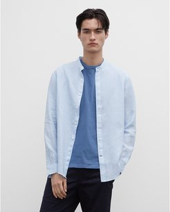 Light Blue Band End-On-End Linen Shirt in Size XL