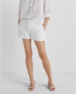 White Cord Tie Shorts in Size S