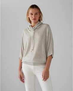 Light Heather Grey Funnel Neck Cashmere Sweater in Size XXS
