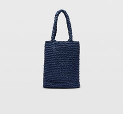 Navy Paper Tote in Size One Size